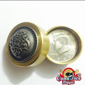 COIN THRU BRASS BOX HALF DOLLAR
